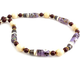 Purple and Cream Color Beaded Lampwork Necklace, Fashion Jewelry, Career Wear, Gifts, Statement Necklace