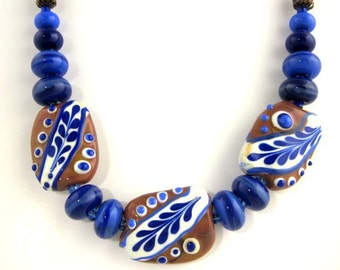 Blue and Brown Lampwork Beaded Necklace, Statement Necklace, Fashion Jewelry, Career Wear, Gifts, Glass Bead Necklace