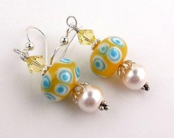 Yellow and White Lampwork Earrings, Dangle Earrings, Beaded Earrings, Drop Earrings, Fashion Jewelry, Career Wear, Valentine Day
