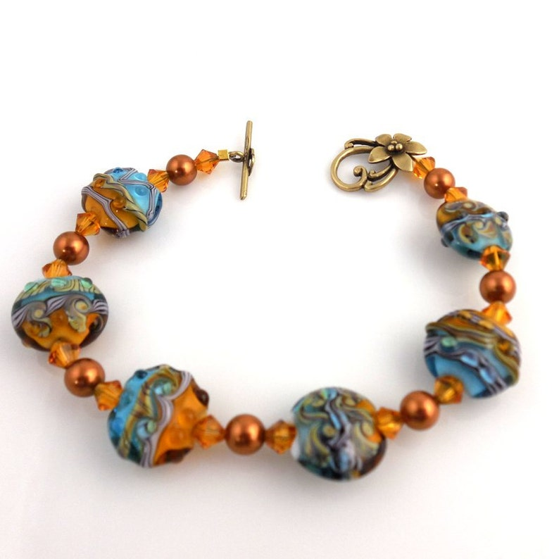 Mother/'s Day Career Wear Fashion Jewelry Gifts Beaded Bracelet Turquoise and Copper Lampwork Bracelet Glass Beads