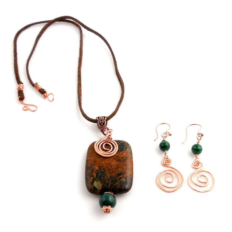 Pendant Necklace Stone Jewelry Western Style Gifts Dark Green and Brown Copper Stone Pendant Necklace