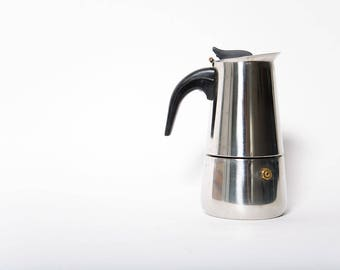 Vintage Stovetop Espresso Maker Percolator Coffee Service  Stainless Steel