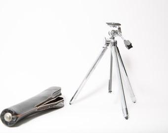 Chrome Camera Tripod Stand Sunset