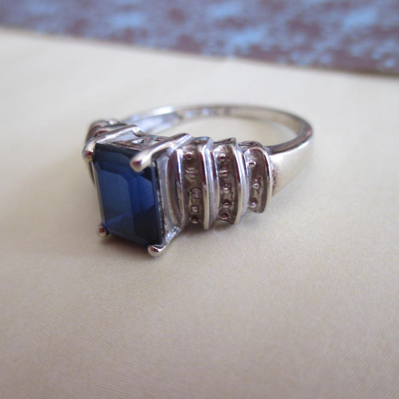 e1e137eb95559 Vintage 10K White Gold Simulated Sapphire Diamond Ring, Size 6 1/2 Ring.  Sept. Birthstone, I Love You Ring, Engagement, Holiday Ring