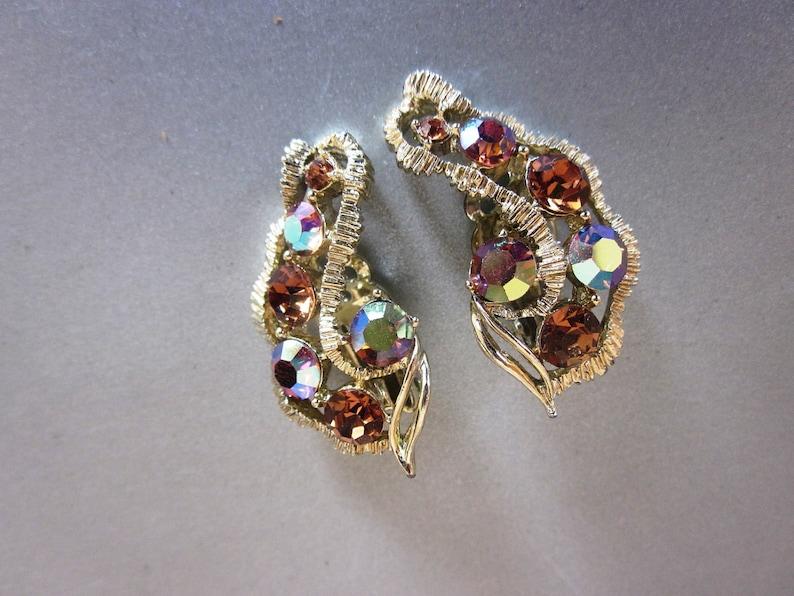 Anniversary Earrings Vintage Designer Pakula Amber Rhinestone and AB Gold Tone CLIP ON Earrings Gift For Her Designer Earrings Birthday