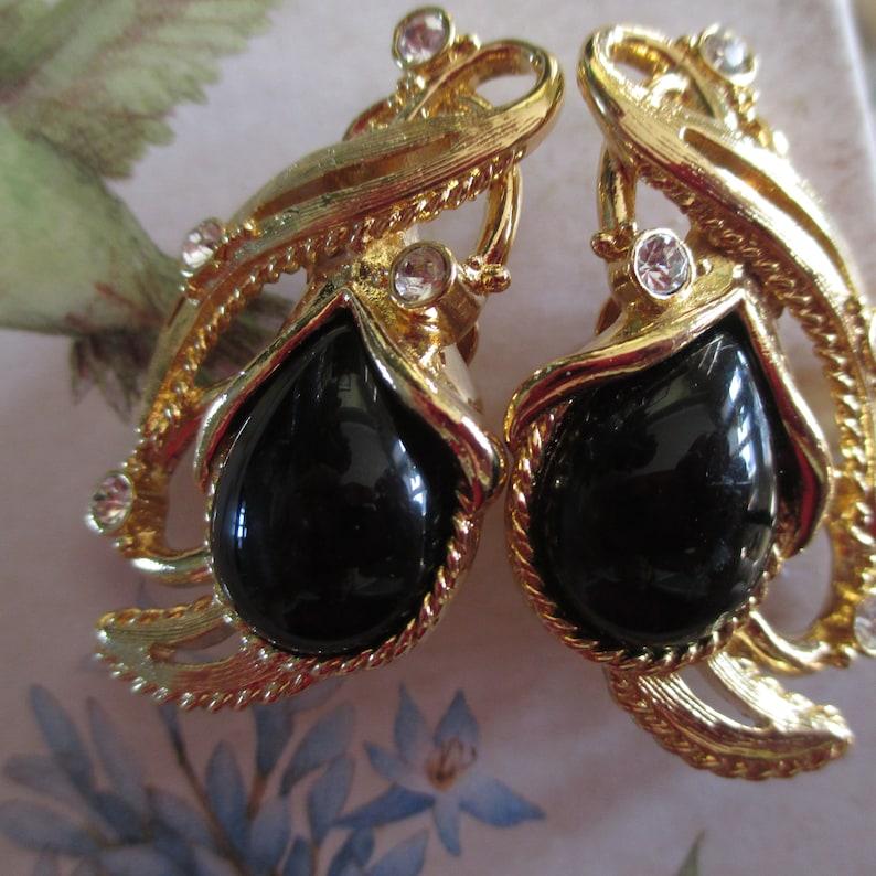 Designer Jose Barrera for AVON Vintage Jose Maria BARRERA for Avon Black Cab Clip On Rhinestone Earrings in Gold Setting Gift For Her