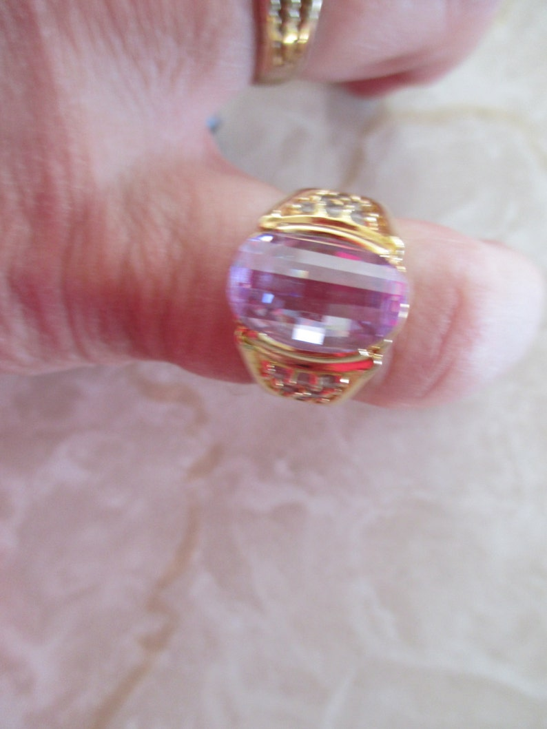 Gift For Her Oval Lavender and Simulated Diamond Cushion Cut 14KT HGE SIZE 7 Anniversary Heavy Gold Electroplate Ring Birthday