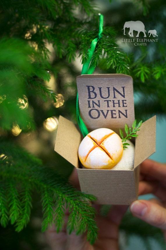 Christmas Ornament Pregnancy Announcement Bun in the