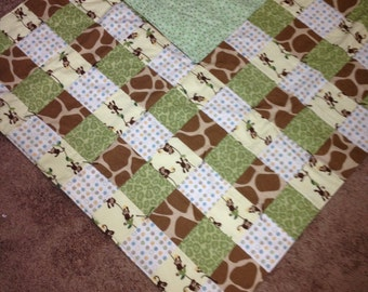 Monkey Jungle Flannel Baby Quilt