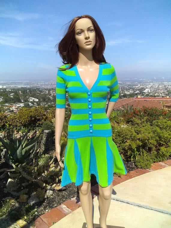 Vintage Betsey Johnson, Groovy Sixties Dress, Knit
