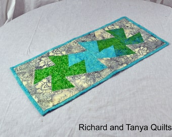Twister Table runner in blues, greens and grays 12 x 24