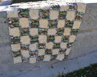 Camouflage and tan boy rag quilt