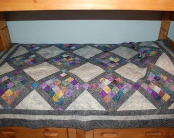 Colorful Batik Twin Size/Lap Quilt 67 by 76 inches