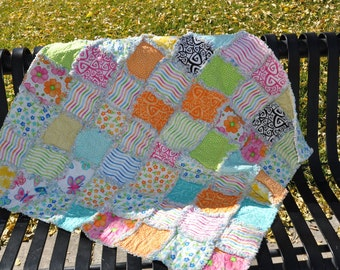 Bright Modern Baby Girl Rag Quilt  in pink, aqua, orange, yellow, blues and blacks  37 X 39 inches