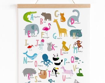Alphabet Print-  UNFRAMED Nursery Print - Nursery Wall Art - Children's Prints - Children's Wall Art - Alphabet Poster - Alphabet Wall Art