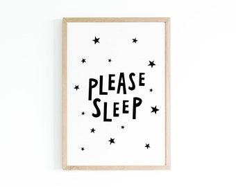 Please sleep - Children's Prints - Children's Wall Art - Poster - Nursery Print - Nursery Wall Art - Instant Download