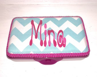 Personalized Pencil Box  4 Prints To Choose From.  Hot Pink Damask, Aqua Chevron, Pink Damask, Aqua Damask, Hot Pink Chevron, Aqua Circles
