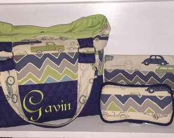 Personalized Diaper Bag  Vintage Car Print With Navy Blue Quilty.  Chevron Wave Velcro Sash.  Includes Embroidered Name