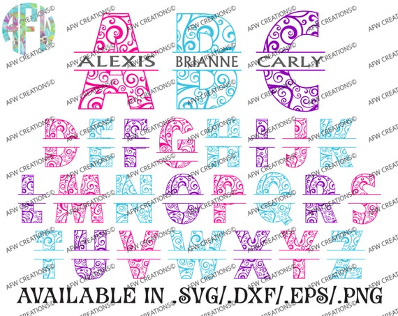 Digital Cut Files Split Swirl Ornament Letters 2 Svg Dxf Etsy