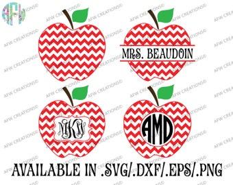 Digital Cut Files, Chevron Monogram & Split Apple, SVG, DXF, EPS, Teacher, School, Appreciation, Preschool, Kindergarten, Silhouette, Cricut
