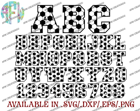 Digital Cut Files Soccer Letters Numbers Football Svg Etsy