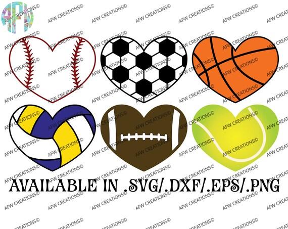 Digital Cut Files Sport Hearts Svg Dxf Eps Baseball Etsy