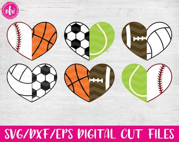 Half Sports Hearts Svg Dxf Eps Cut Files Mix To Create Etsy