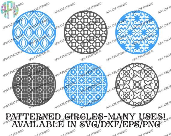 Digital Cut Files Pattern Circles Bundle 5 Svg Dxf Eps Etsy