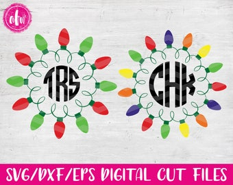 Christmas Lights Monogram Frame Bundle 1, SVG, DXF, EPS, Cut File, Vinyl, Vector, Holiday, Tree, Ornament, Elf, Silhouette, Cricut