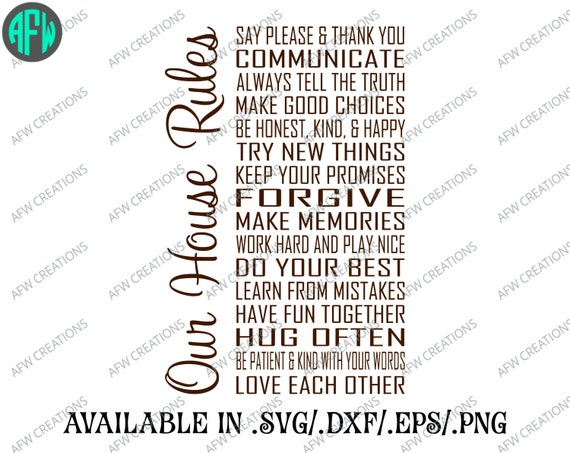 Digital Cut File Our House Rules Vinyl Cutting File Svg Etsy