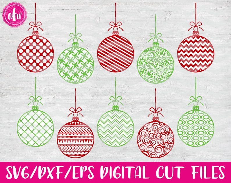 Pattern Christmas Ornaments Svg Dxf Eps Cut Files Santa Vector Silhouette Cricut Elf Claus Holiday Winter Snow Vinyl