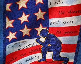 Soldiers Prayer Pillow Panel- 2 of each square per panel- cotton