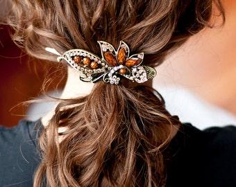 Caramel Vintage Flower Jeweled Hair Clip, Wedding Hair Clip, Prom Hair Clip, Party Hair Clip, Vintage Hair Clip
