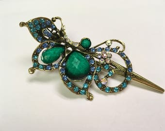 Turquoise Vintage Butterfly Wing Jewel Hair Clip