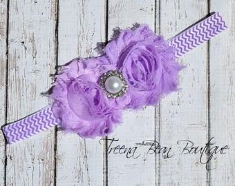 Lavender Chevron Shabby Chic Headband, baby headband, adult headband, infant headband, newborn headband