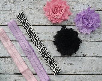 Purple and Pink DLY Headband Kit, Three Headbands, Newborn Headband, Baby Girl Headband