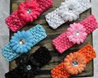 50% OFF SALE!! Set of 6 Gerber Daisy Headbands, Baby Headband, Hair Bow Headband, Newborn headband, Daisy headband, flower headband