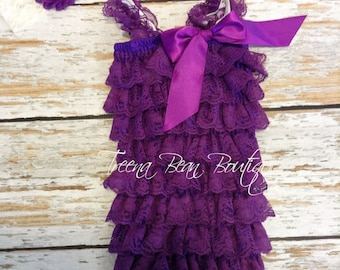 Purple 2 pc Vintage Lace Petti Romper, infant outfit, Toddler outfit, birthday outfit, Newborn outfit