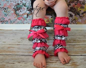 50% OFF Clearance SALE...Petti Vintage Hot Pink Zebra Animal Print Satin Ruffle & Lace Leg Warmers, Ruffle Lace leg warmers, leg warmers