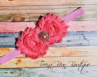 Coral Pink Chevron Shabby Chic Headband, baby headband, adult headband, child headband, newborn headband