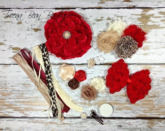 DIY Couture Headband Kit..... Red, Taupe, and Cream...Baby Shower Game...Headband Kit...DIY Headbands...Baby Headbands