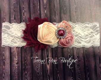 Wine & Roses Beauty Headband, Story Book Collection Shabby Chic Headband, Newborn Headband, Baby Headbands