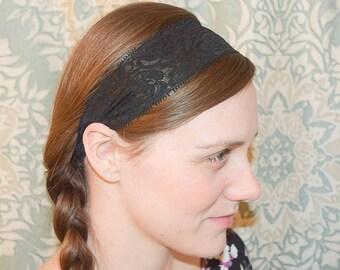 Black Lace Headband, Toddler Headband, Adult Headband, Black Headband