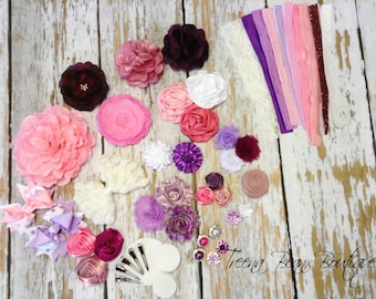 DIY Couture Headband Kit..... Purple, Pink, and White...Baby Shower Game...Headband Kit...DIY Headbands...Baby Headbands