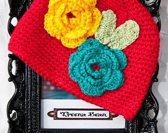 Baby Girl Red Crochet Hat,  Hat, Baby Hat, Newborn Hat, Baby Beanie, Baby Crochet Hat, Shabby Chic