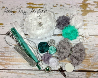 DIY Couture Headband Kit..... Mint, Grey, and White...Baby Shower Game...Headband Kit...DIY Headbands...Baby Headbands