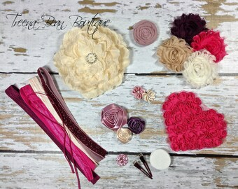 DIY Couture Headband Kit...Antique Rose, Wine and Cream...Baby Shower Game...Headband Kit...DIY Headbands...Baby Headbands