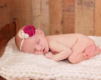 Cream and Plum Headband, Newborn Headband, Little Girl Headband