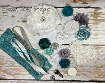 DIY Couture Headband Kit..... Teal, Grey, and White...Baby Shower Game...Headband Kit...DIY Headbands...Baby Headbands