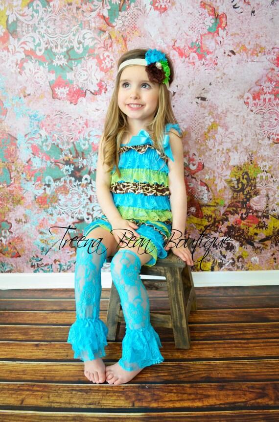 f07cd16e30e6 Turquoise Lime Green   Giraffe Lace Petti Romper Lace Romper